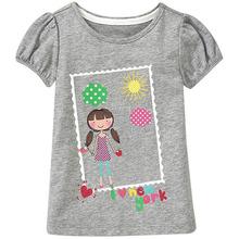 18 Months-6T Baby Girls T-Shirt Summer Cute Cartoon T-Shirt Children's Clothing European Style Girls Kids Tops & Tees