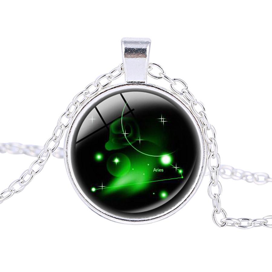 12 Zodiac Constellation Pendant Virgo Zodiac Necklace Handmade Silver Plated Glass Dome Fashion Jewelry Valentine's Day Gift(China (Mainland))