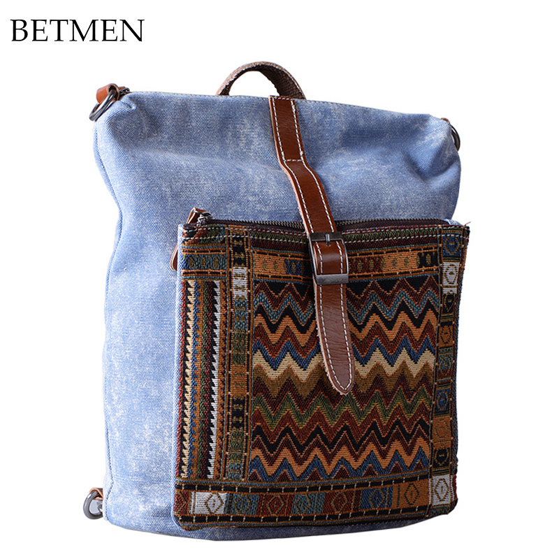 2016 Street Fashion Multifunctional Backpack Retro National Style New Leisure Canvas Bag 13 computer bag<br><br>Aliexpress