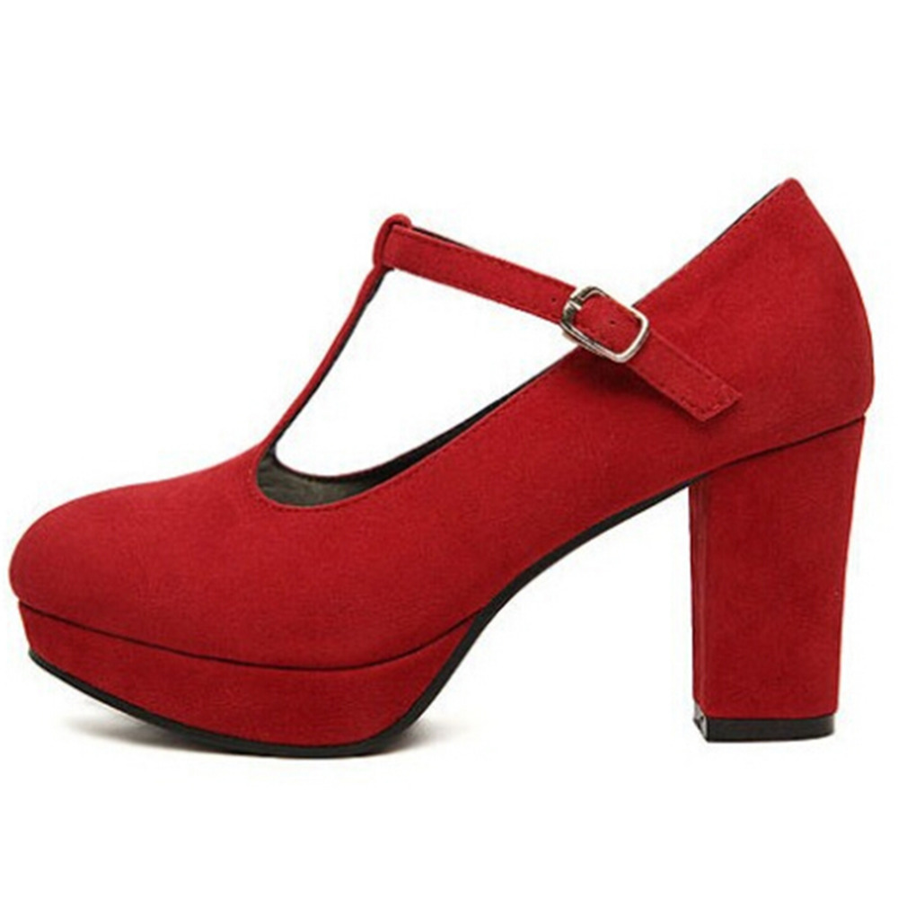 Red Chunky Heel Shoes - Is Heel