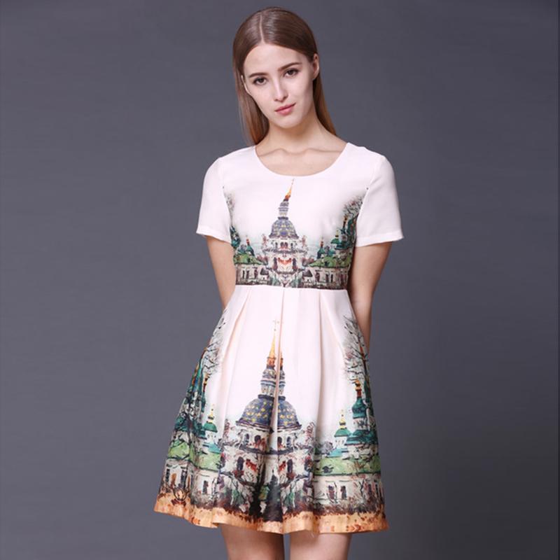 Cute Dress 2016 Girls Casual Design Lovely Style Building Print Short Sleeve Fashion Slim Beige Silk Cool Summer Mini DressОдежда и ак�е��уары<br><br><br>Aliexpress