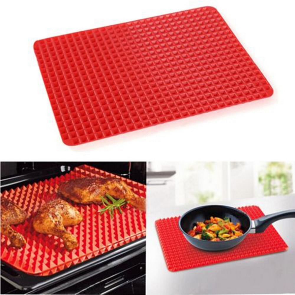 1 Pc Red Pyramid Pan Nonstick Silicone Baking Mat Mould Cooking Mat Oven Baking Tray Kitchen tools Free Shipping(China (Mainland))