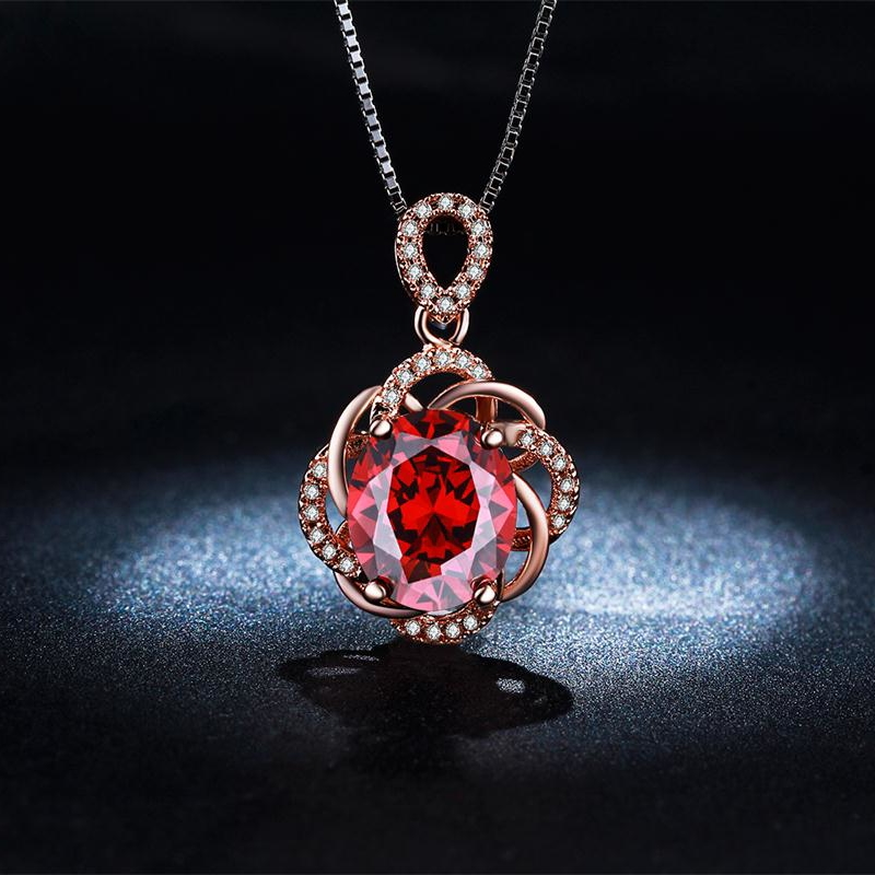 Vintage Accessories Collier Luxury Ruby CZ Diamond Jewelry Necklace Women Wedding Rose Gold Plated Pendant Collares Mujer QN010(China (Mainland))