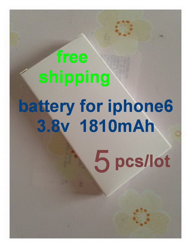 free shipping 5pcs/lot for iphone 6 battery build-in Li-ion Polymer battery repair parts for iphone 6G 1810 mah