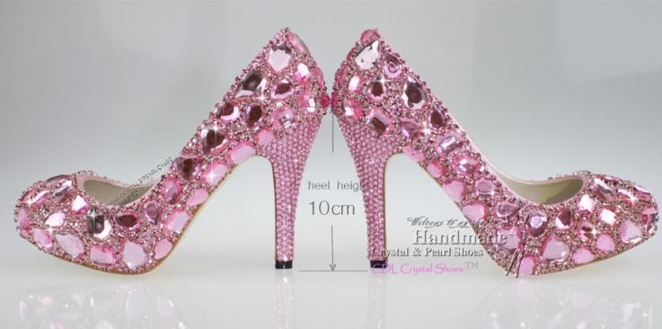 New Fashion 4 inch Heel Pink Crystal Prom designer bridal shoes(China (Mainland))