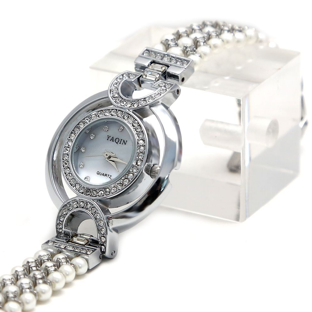 Good Taste FW919A PNP Shiny Silver Watchcase White Dial Ladies Immited Pearl Bracelet Watch<br><br>Aliexpress