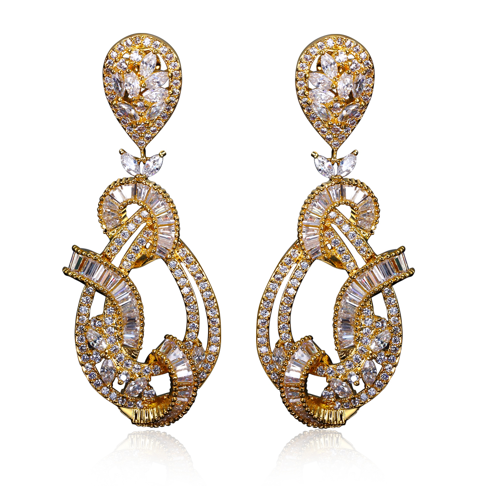 Bridal dangle earrings 18k gold and white gold plate pave setting with aaa Cubic Zirconia Earings wedding party bijoux earring(China (Mainland))