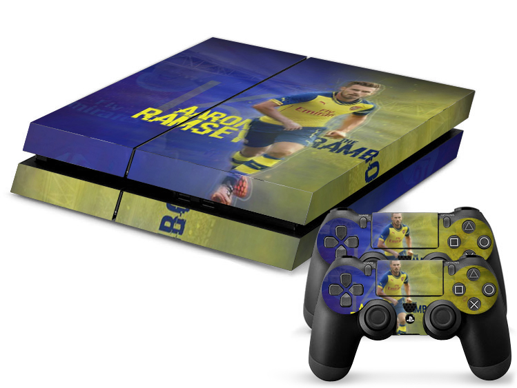 Free Shipping Aaron Ramsey Footbal star Skin Sticker For PlayStation 4 PS4 Console + 2Pcs Free Controller Cover Decals(China (Mainland))