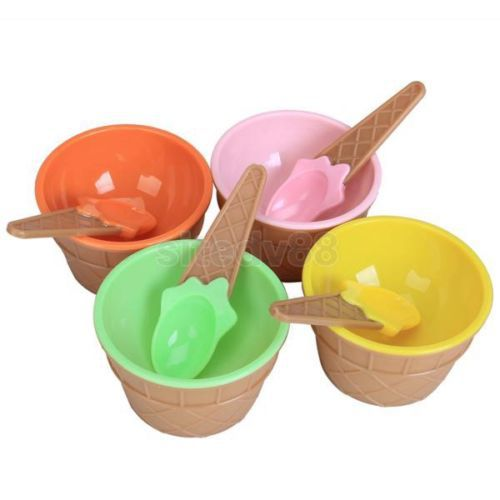 2Set Children's Plastic Ice Cream Bowls Spoons Set Durable ICE Cream CUP For KIds Couples Tubs Gifts Lovely Dessert Bowl(China (Mainland))