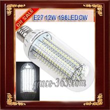E27 12W 198LEDs LED PL Light Bulb Corn lamp 1000lm White(China (Mainland))