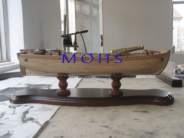 Wooden scale boat sailing boat model wood scale model all ribs armed boat+5 bronze cannon scale assembly model building kits(China (Mainland))