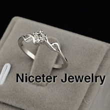 NICETER Classic Hollowed-out Design Ruby/Transparent Cubic Zircon Diamond Ring For Women Party Accessories Real White Gold Rings