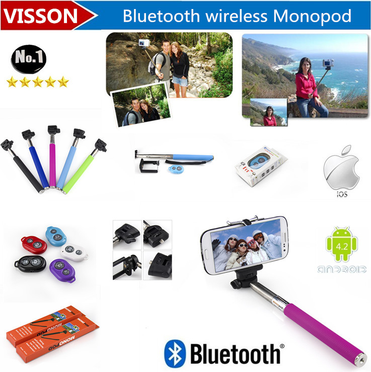 Extendable Handheld Monopod Mobile Phone Monopod Selfie Stick Tripod Handheld + bluetooth Shutter Controller for iPhone Android(China (Mainland))