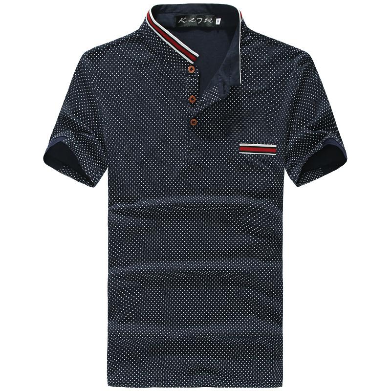 2016 New Brand POLO Shirt Men Cotton Fashion Polka Dot Print Camisa Polo Summer Short-sleeve Casual Shirts(China (Mainland))