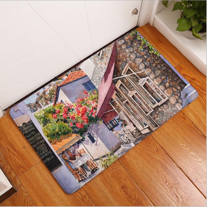 New Seaside Town Printed Mat Anti-Slip Decor Doormat Foot Pad ...