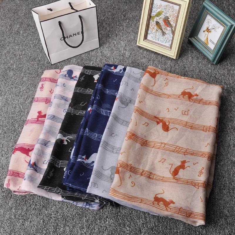 Music Note Cat print Scarf Women Long Scarf New Fashion Style Scarves Spring Long Shawl Silk Pashmina Chiffon Scarves(China (Mainland))