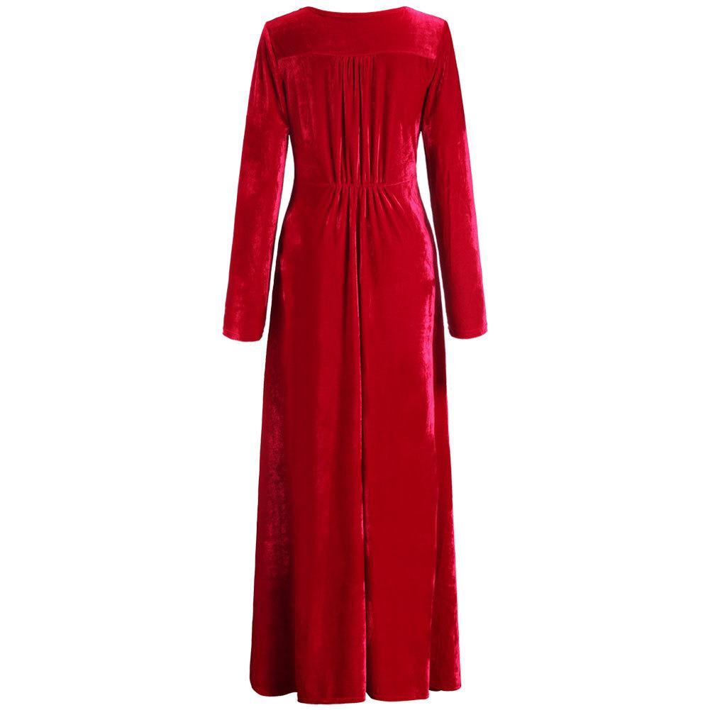 Women Dress Vestidos Plus Size Formal Work Dresses Ankle-Length Cute Female Evening Dress velvet long sleeve dress embroideredОдежда и ак�е��уары<br><br><br>Aliexpress