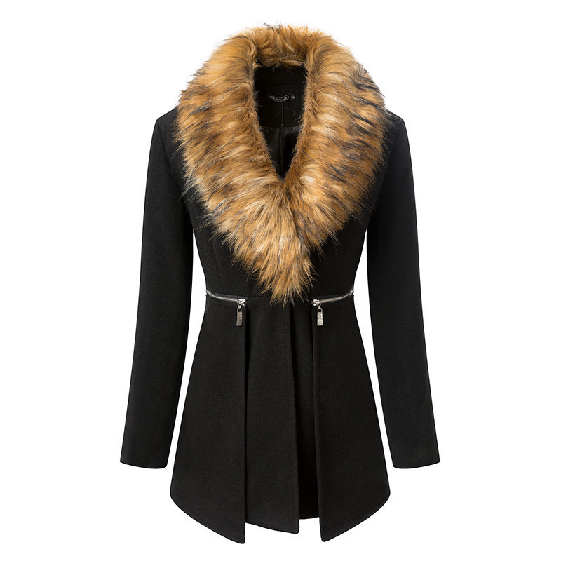 2014 autumn winter Europe America large size women's long sections woolen coat collar Nagymaros - BU GAO store