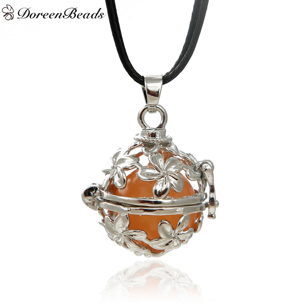DoreenBeads Silver Tone Copper Wish Box Pendant Rope Chain Necklace Hollow Flower (Fit 16mm Bead),About 60cm Long, 1PC(China (Mainland))