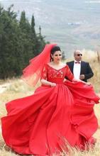 Robe de Soiree Red Long Lace Evening Dress 2015 Elegant V Neck Half Sleeve Arabic Plus Size Evening Gowns Vestidos De Festa(China (Mainland))