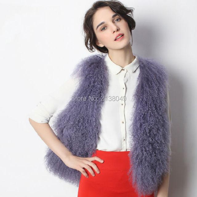 Fv043 мода леди горячая распродажа новый монгольских овец меха жилеты