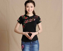 2016 New women vintage stand collar flowers embroidery blouse female short sleeve ethnic tee dark blue black red white green top(China (Mainland))