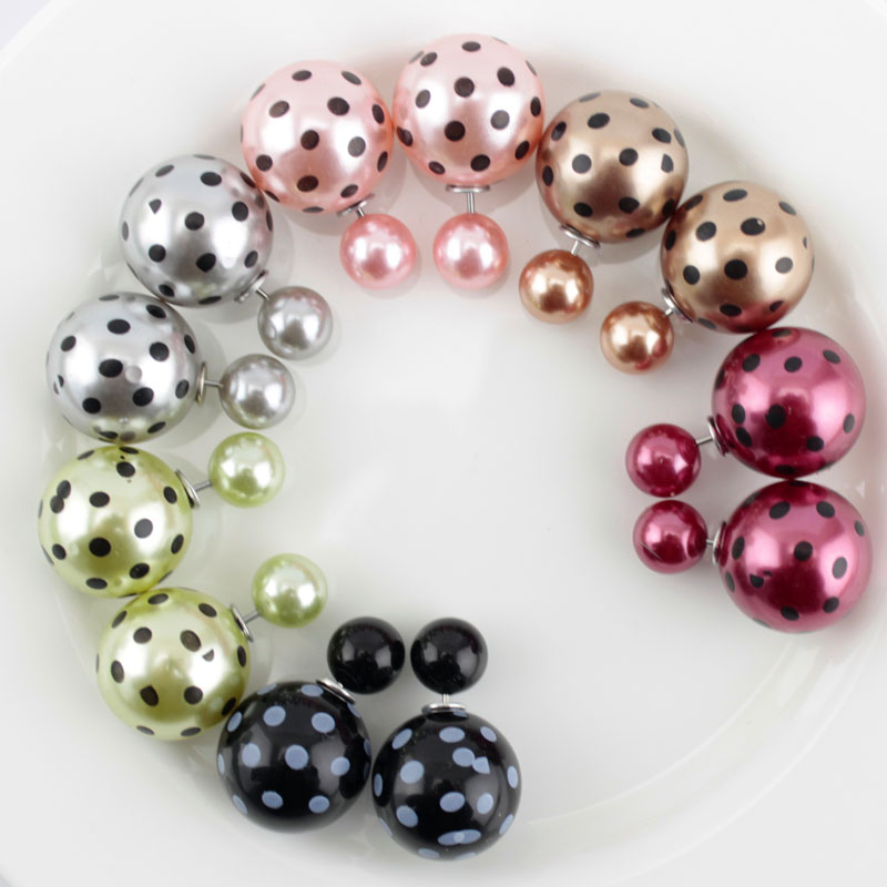 6 Pairs/lot Colorful Two Side Double Ball Pearls Stud Earrings For Women Fine Jewelry Earrings Supplier(China (Mainland))