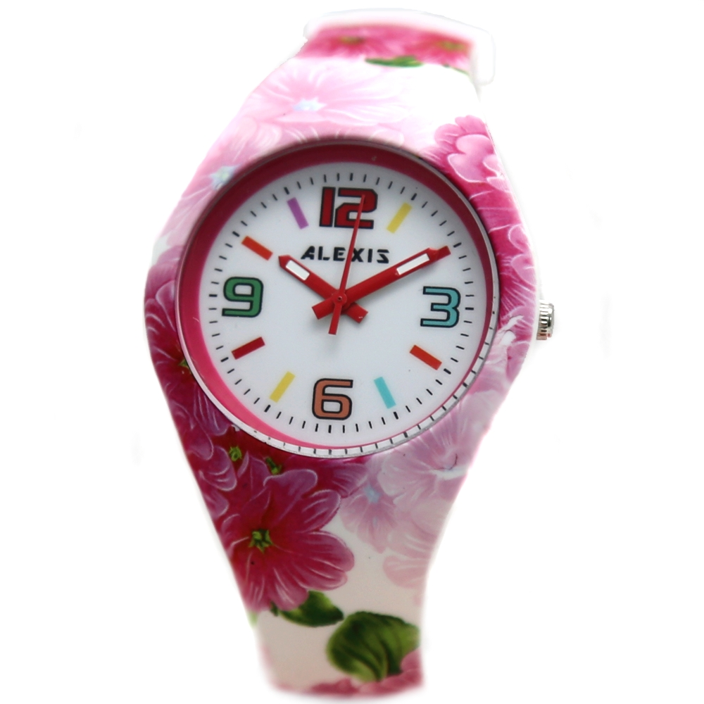 Good Taste Stylish Hong Kong ALEXIS Brand Watches FW922F New Silicone Printing Pink Flower Soft Band Ladies Quartz Elegant Watch(China (Mainland))