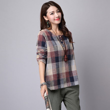 2016 New Spring  Roune Collar Classic Case Grain Cotton Linen Hitting Scene Loose Long-sleeved Shirt Women's Clothing 154D 20(China (Mainland))
