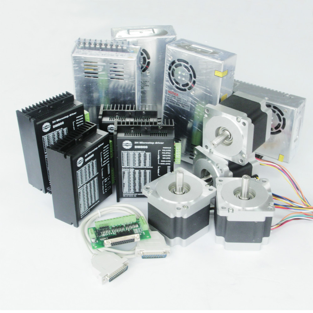 4axis nema 34 stepper motor with 878oz in dm860a driver for Nema 34 stepper motor driver