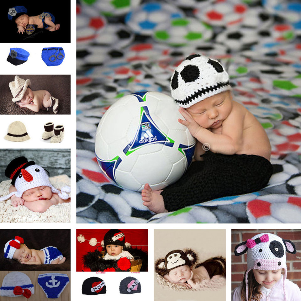 0-12M Baby Photo Props Footballer Infant Baby Crochet Hat+Shorts Suits Kids Baby Knitted Photography Props 1pcs MZS-15046(China (Mainland))