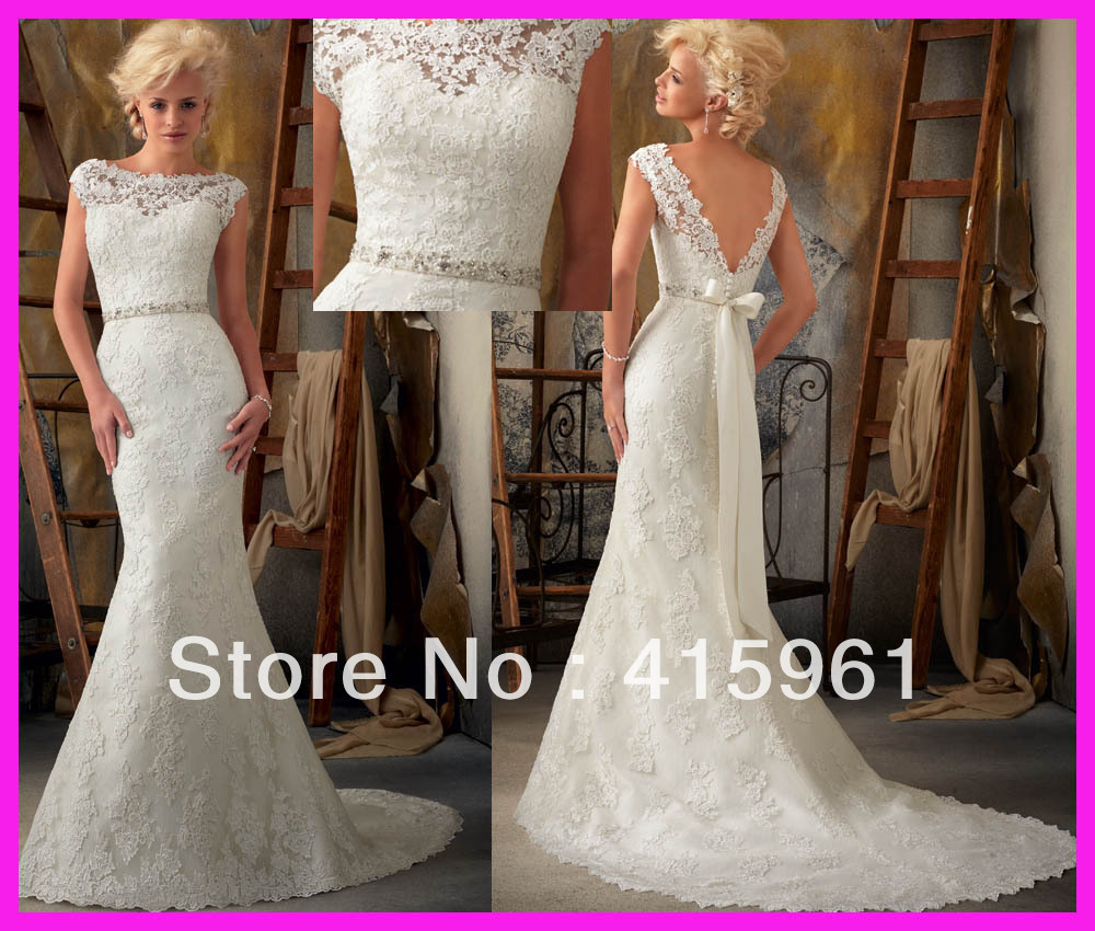 Lace wedding dress with cap sleeves and open back images for Cap sleeve open back wedding dress