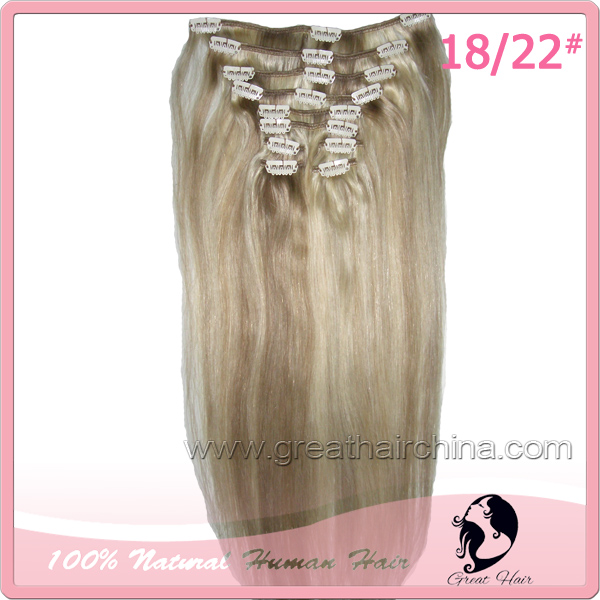 Free Shipping 10Pcs/Set 18 inch 100gram Natural Straight 1#, 18/22# Brazilian Remy Virgin cabelo humano Clip in Hair Extensions(China (Mainland))