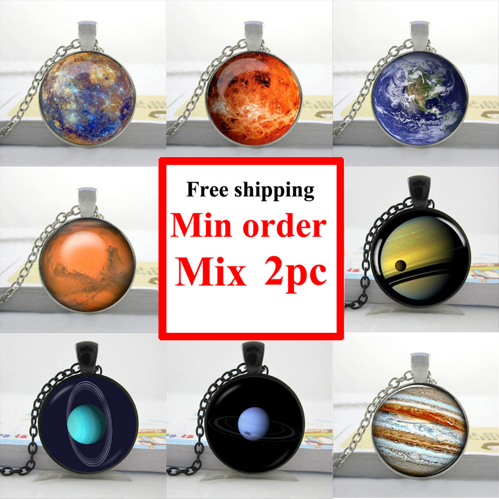 Wholesale Solar System Necklace Glass Galaxy Necklace Glass Art Picture Necklace(China (Mainland))