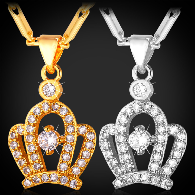 Luxury Crown Necklace Pendant With AAA Cubic Zirconia Platinum /18K Real Gold Plated Fashion Necklaces For Women IP1414(China (Mainland))