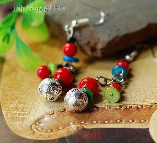 HOT SELLING! Handmade Tibetan Red Turquoise & Shell with Alloy Ball Pendant Earring Dangler 50pairs Mixed Lot Free Shipping