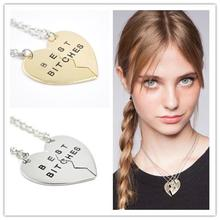 Buy Broken Heart 2 Parts Best Bitches Pendant Necklace Silver Gold Chain Statement Necklace Best Friend Forever Necklace Jewelry for $1.10 in AliExpress store