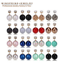 16Colors Drop Shipping Pearl Crown Earrings With Stones Fashion Unique Design Women Earrings With Stones