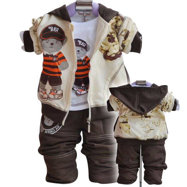 2013 fall winter infant baby clothing sets cartoon bear christmas boys children outwear sport suit coat+t-shirt+pants!