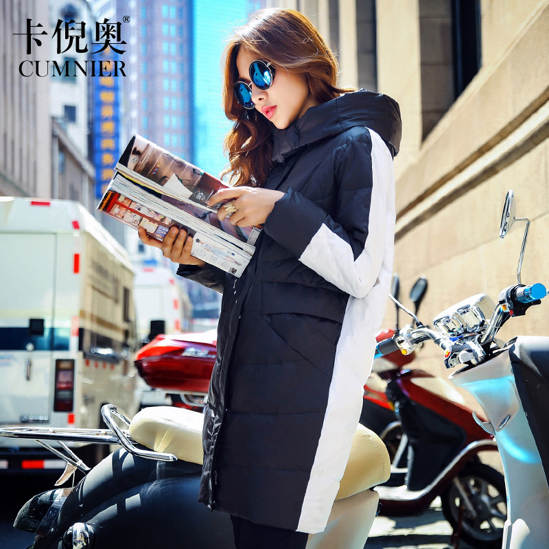2015 new heat winter Thicken Warm Woman Down jacket Coat Parkas Outerwear Hooded long plus size L Loose Luxury fashion Splice(China (Mainland))