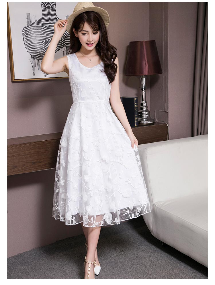 New embroidery white lace dress summer women