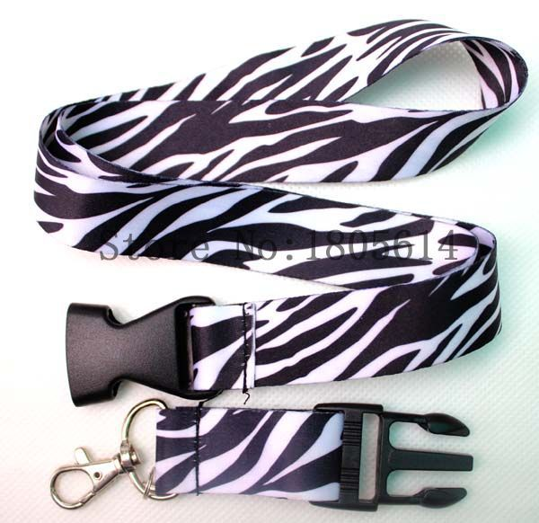 Black White Zebra pattern Printed Lanyard With Buckle,ID Holder Key chains CellPhone Charms Detachable Neck Strap Lanyards #R26(China (Mainland))
