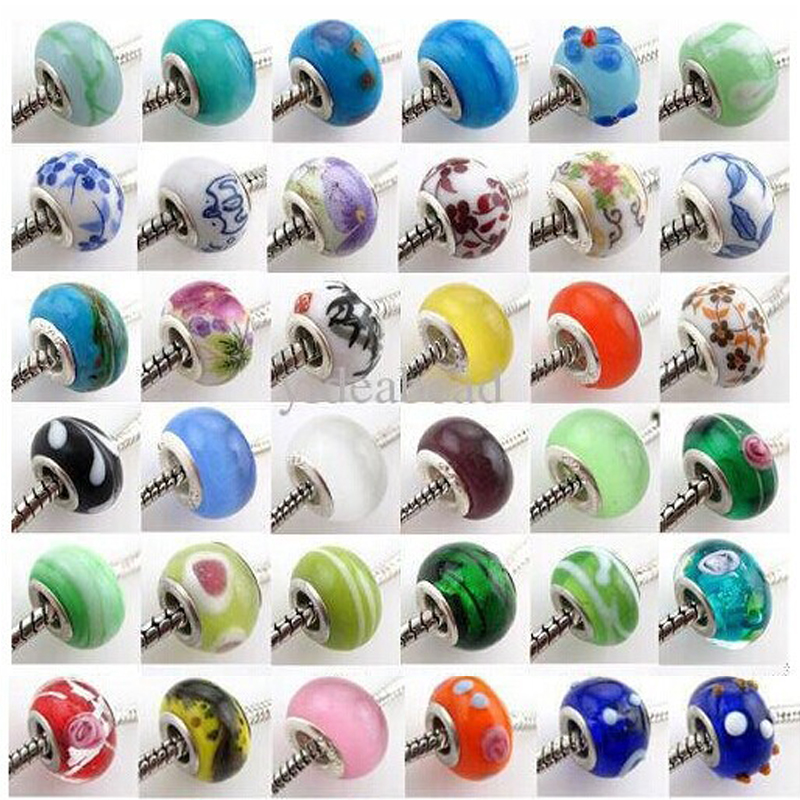 20mix beads 14mm Glass 925 Stering silver Big Hole Loose Beads fit European Pandora Jewelry Braclet Charms - Yiwu NO.2 store