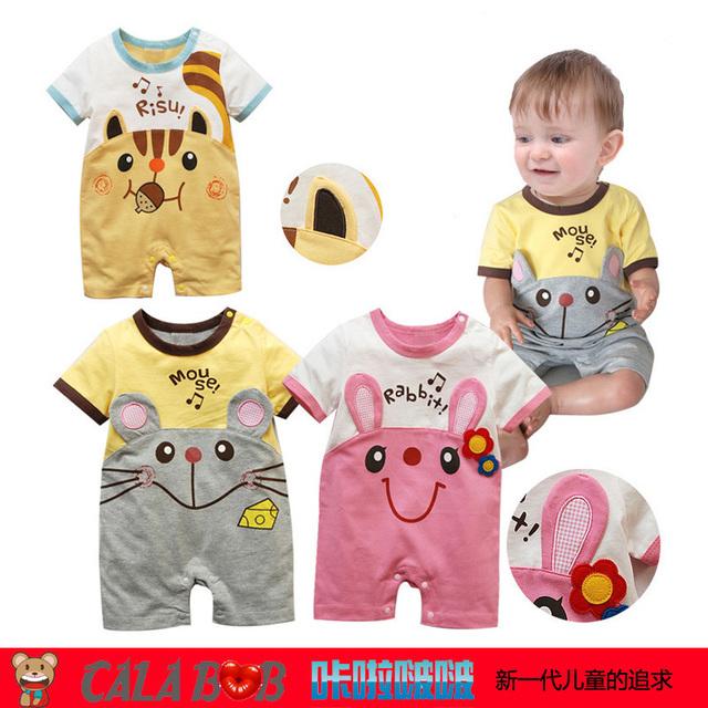 New Hot selling Original baby romper boy&girl's short sleeve romper  Animal model 100% cotton 4pcs in pack