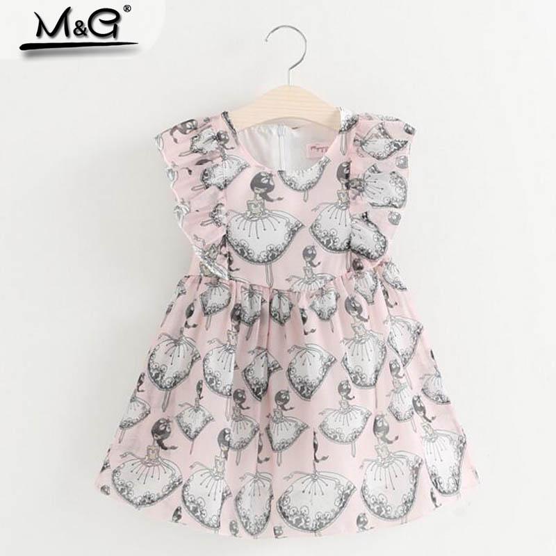 Kids Girl Summer Clothes 2016 Chiffon Cute Cartoon Dance Ruched Batwing Sleeve Crew Neck Knee-length Child Dress Children(China (Mainland))
