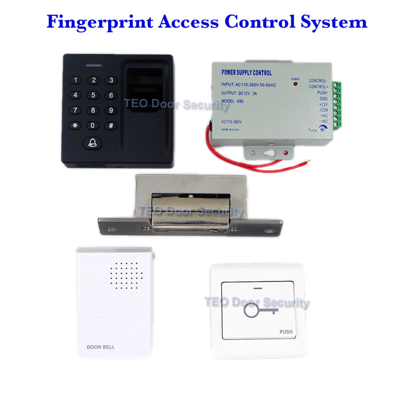 Фотография Biometric Fingerprint & 125KHz RFID Card Reader Access Control System European Narrowtype NO Electric Strike 600KG Holding Force