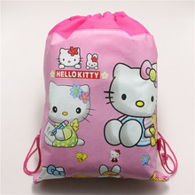 fabric non-woven drawstring backpack hello kitty party favors kids girls travel school bag decoration mochila cartoon backpacks(China (Mainland))