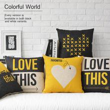 British Nordic geometric LOVE Pillow cushion Heart Linen pillowcase sofa cushions home decorative Pillows(China (Mainland))