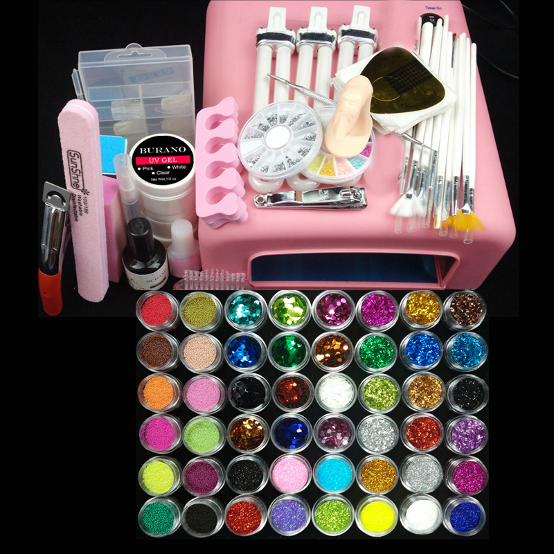 36w uv pink lamp manicure set Nail Art UV Gel Kits sets Tools Brush Tips Glue Acrylic Powder Set #004(China (Mainland))