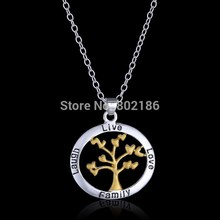 Tree Of Life Gold Heart Leaf Love Family Letter Silver Gold Pendant Necklace Jewelry Stamped Best Wishes to Family